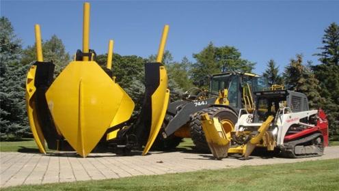 老外发明硬核移树机,不到一分钟挖完大树,2分钟种一棵