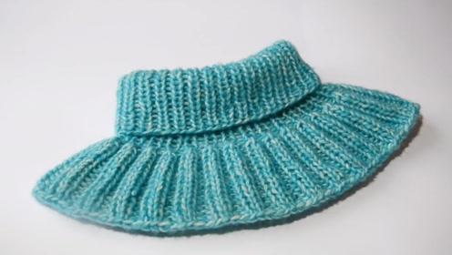 毛线编织中级篇,用环形针编织脖套的方法,美观又时尚!