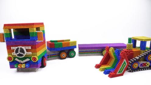 教萌娃小可爱用磁力巴克球制作大型卡车和铲车,很好玩呢!