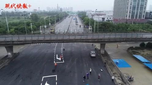 航拍丨无锡高架桥侧翻现场地面道路交通恢复