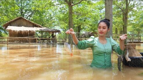 """越南""""李子柒""""外出捕鱼,精心烹制当地美食,看着太美味了!"""