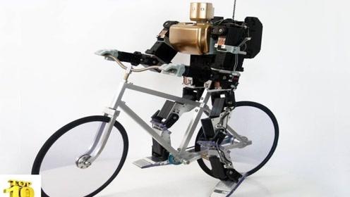 国外一款会骑自行车的机器人,刹车方式过于魔性