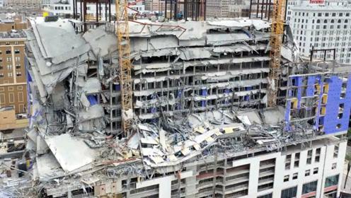美国一在建酒店突然垮塌 施工现场宛若遭遇大地震 事故已致1死