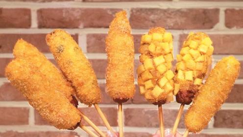 """韩国人人都爱的街头小吃:超多玉米粒裹上一大根""""热狗"""",真香!"""