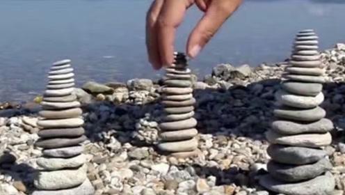 最牛叠石艺术家,石头都要听他话,让它立着绝不倒下