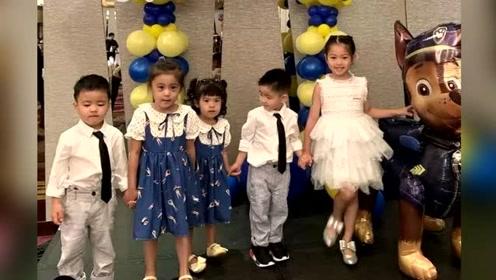 咘咘波妞穿姐妹装参加生日派对,被两个小寿星牵手,超受欢迎