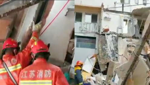 救援内部现场曝光!实拍南京一建筑坍塌现场 仍有2名人员被困