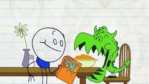 铅笔人收养一只喷火龙,胃口大到连家具都不放过,下一秒傻眼了!