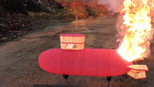 奇葩老外用120000根火柴打造核潜艇模型,点燃过后,精彩即将开始