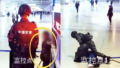 男子持棍袭击22岁武警被7秒KO,原因竟是想免费被遣送回家