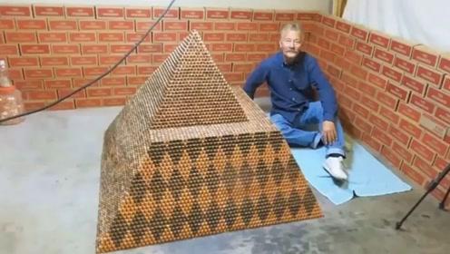 世界上最大的硬币金字塔,目前已经堆放90万枚!