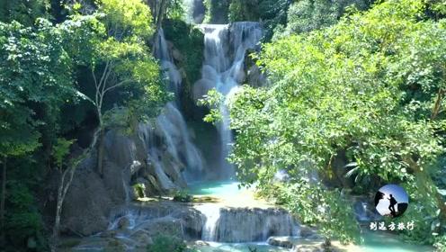 老挝大山里瀑布,总高比贵州黄果树还要高,美如仙境
