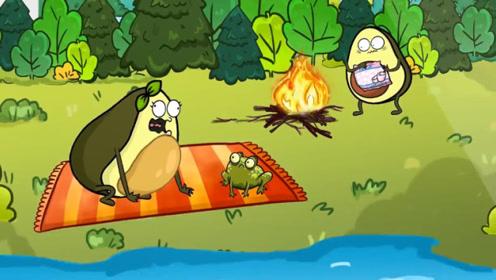 牛油果夫妻野营,不料碰到青蛙,牛油果夫人竟和它抢蚊子吃!