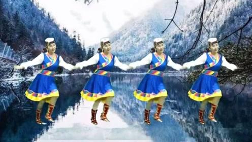 罗平兰草广场舞《九寨雪》藏族舞正面演示笛子独奏