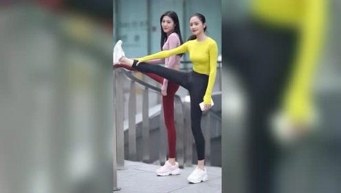 偶遇两个大长腿小姐姐,这身材简直完美,还有什么可以挑剔的吗?