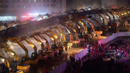 这就是中国速度!一座500米的立交桥,200台挖掘机一夜拆完