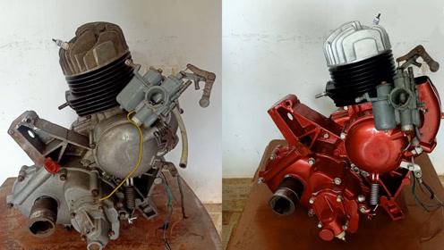 50收的破旧摩托车发动机,翻新完价钱蹭蹭涨