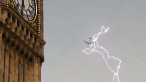 一辈子见一次的壮观场面,高空飞机2次被雷劈?不是监控,谁信!