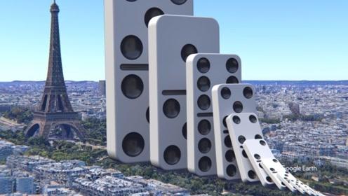 世界上最大的多米诺骨牌,倒下瞬间大地都在颤抖,网友:差点就信了!