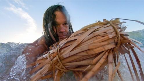 肌肉哥又更新了,这次他用香蒲草做了个漂浮物,去海里游泳啊!