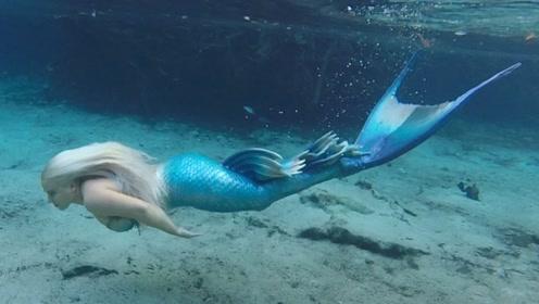 """美人鱼潜水遇到现实版""""美人鱼"""",结果会擦出什么火花?画面简直太温馨!"""