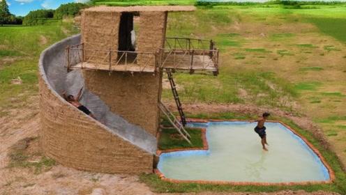 农村兄弟俩野外建造豪华小洋楼,还自带泳池大滑梯,简直太会玩了!