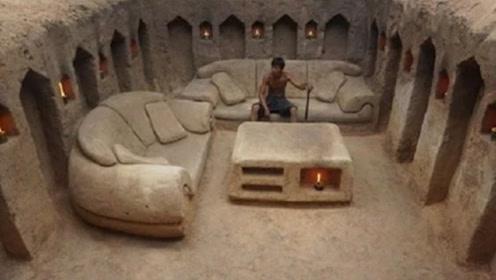 牛人在地下造豪宅,纯手工自制奢华大沙发,躺着睡觉真惬意!