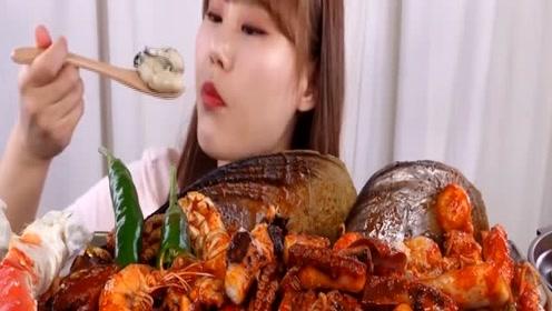 韩国Kani jjang吃播蒸生蚝饭和韩式辣闷海鲜