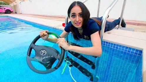 安全气囊弹开时有多可怕?美女在水下亲测,隔着屏幕一阵后怕!