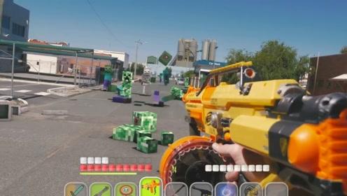 玩家切换出不同的装备,消灭了街道上的僵尸,第一人称视角游戏