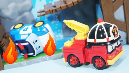 变形警车珀利的断桥场景玩具