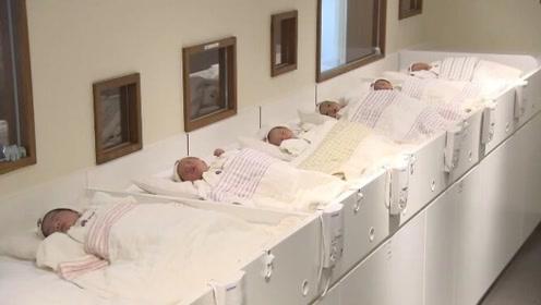 刚出生的小婴儿躺成一排,不哭也不闹,这画面简直难得一见