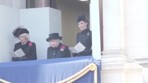 一战结束101周年纪念日 英女王参加国殇纪念活动 现场潸然泪下