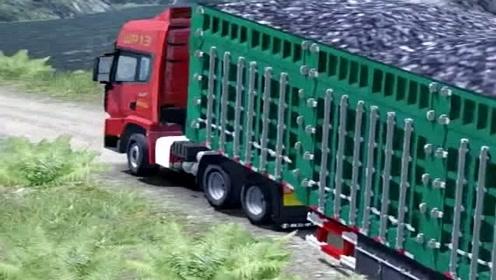 大货车拉煤走山路,太难了,老司机也有失手的时候