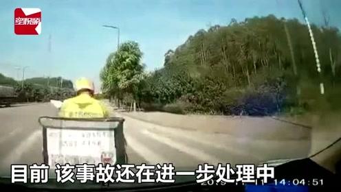 广西一小车司机开车打瞌睡,外卖小哥被追尾撞飞,监控记录惊险瞬间