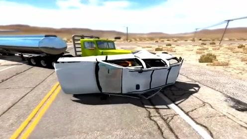 开着汽车大马路上狂飙,直接被拐弯的卡车顶翻,太惨烈了!