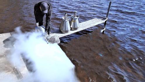 外国小哥把30升的液氮倒入湖里,倒进去那一刻,瞬间傻眼了!