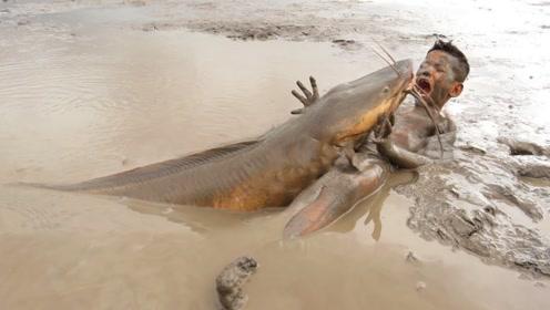 男孩在泥巴里捞鱼,一条大鱼突然窜了出来,镜头记录全过程