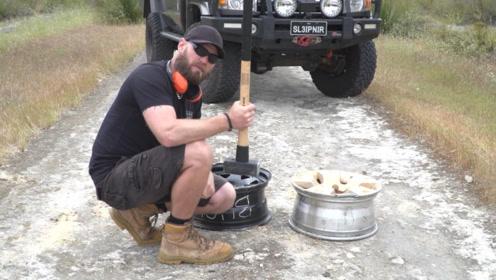 还在纠结到底是钢轮毂好还是合金轮毂好吗,老外用铁锤测试后你就明白了!