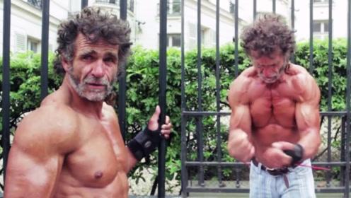 52岁流浪汉街头疯狂增肌!万物皆可抛弃,唯独放不下这一身肌肉!
