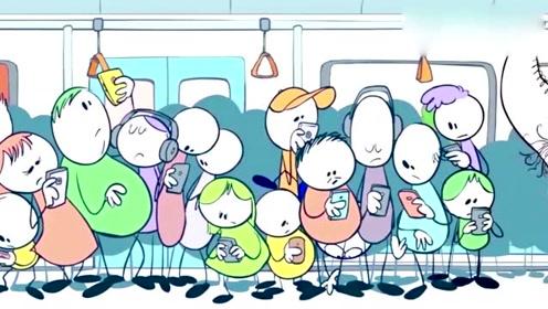 创意动漫搞笑简笔画卡通动画:地铁上搭讪漂亮美女