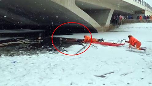 母子掉入冰窟命悬一线!救援人员趴轻薄冰面上惊险救人