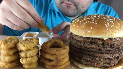 俄罗斯大叔直播吃汉堡,还配洋葱圈和小鸡块,把我都给看饿了