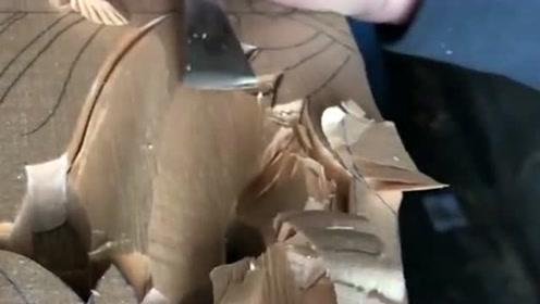 看老师傅削木板,就像削面包一样轻松,是刀利还是木头软?