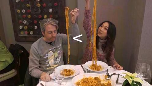 美国纽约最长的面条,吃个饭就像健身一样,网友们说手长才吃的饱