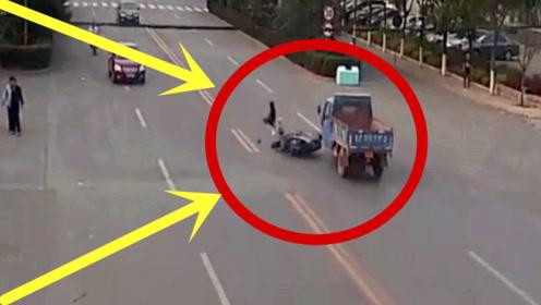 男子任性横穿马路,要不是监控,谁敢信男子这么惨!