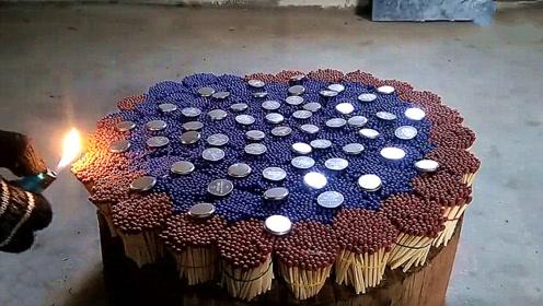 老外把55枚硬币放到一万根火柴上,点燃后会发生什么?画面太壮观了!
