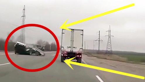 诡异!奔驰凭空被撞的稀碎,监控拍下匪夷所思一幕!