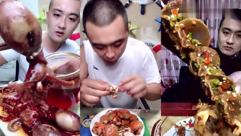 吃播哥哥吃的这个螃蟹看着小小的,没想到还挺肥的