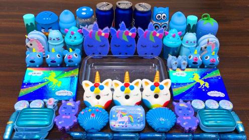 蓝色无硼砂史莱姆教程,拉杆箱彩泥+亮彩粉+水晶果冻泥,好玩不粘手
